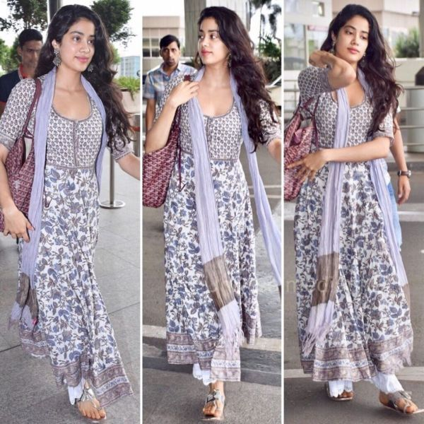 1 janhvi kapoor - lilac printed suit at airport