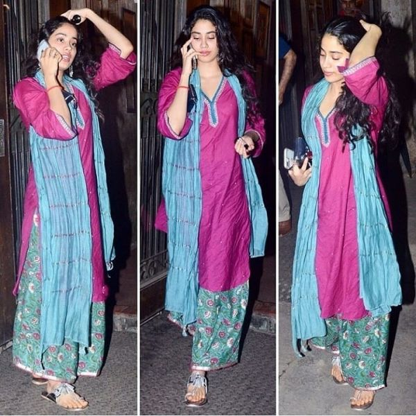 3 janhvi kapoor - purple and green suit