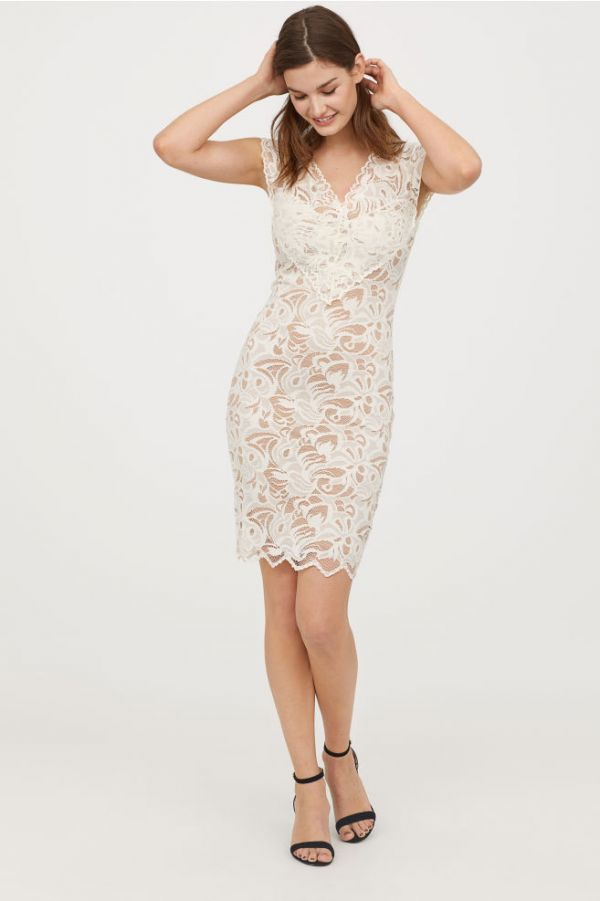7 date night outfit - Lace V-neck dress H M