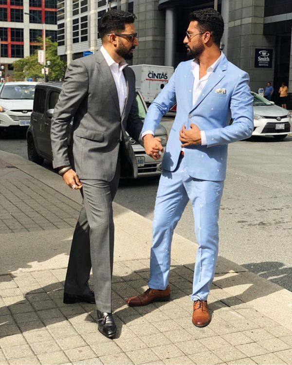 2 vicky kaushal - blue suit for manmarziyaan promotions
