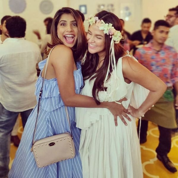 6 neha dhupia invited celebrity friends at her baby shower - neha dhupia at her baby shower with VJ Gaelyn