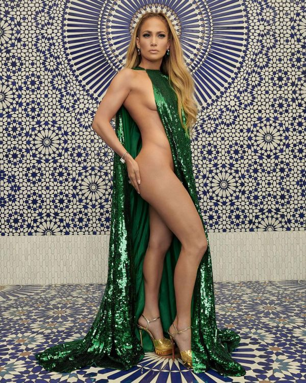 2-profile-pose-jlo-green-barely-there-dress