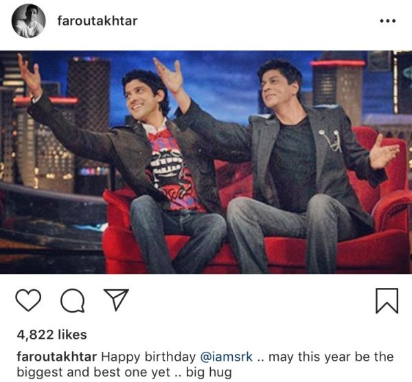 Here's How Bollywood Decided To Wish King Khan On His Birthday-farhan akhtar