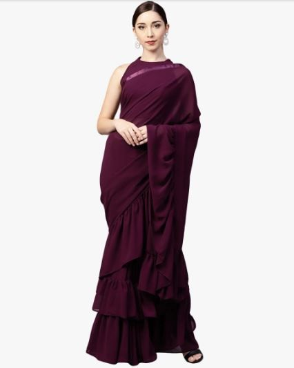 11-sarees-for-farewell-Maroon-Solid-Saree