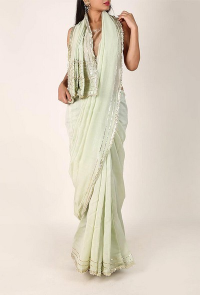 28-sarees-for-farewell-Pastel-Green-Chanderi-Silk-Cotton-Saree-with-Gota-Embroidery