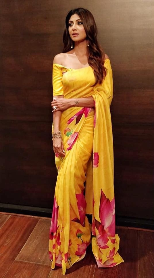 36-sarees-for-farewell-Chanderi-Lotus-Floral-Printed-Sari-with-Blouse-Piece