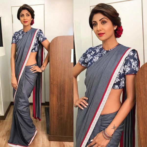 40-sarees-for-farewell-Denim-Saree-with-Printed-Blouse