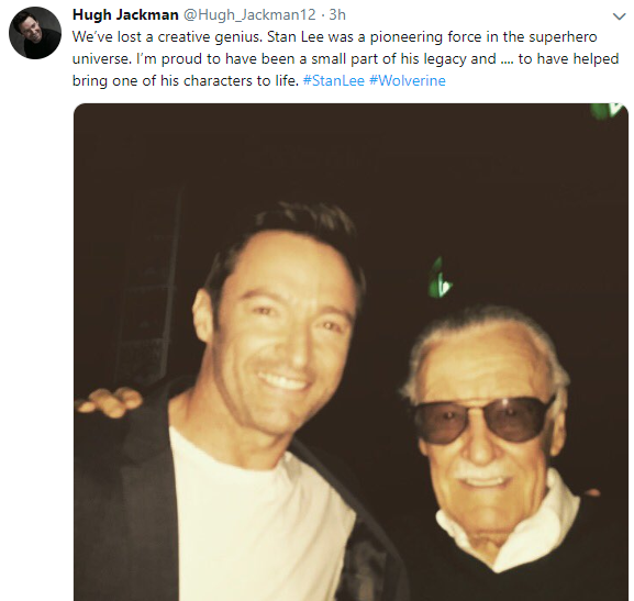 creater of the marvel universe  stan lee dies at 95-hugh jackman