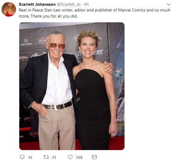 creater of the marvel universe  stan lee dies at 95-scarlett johanson