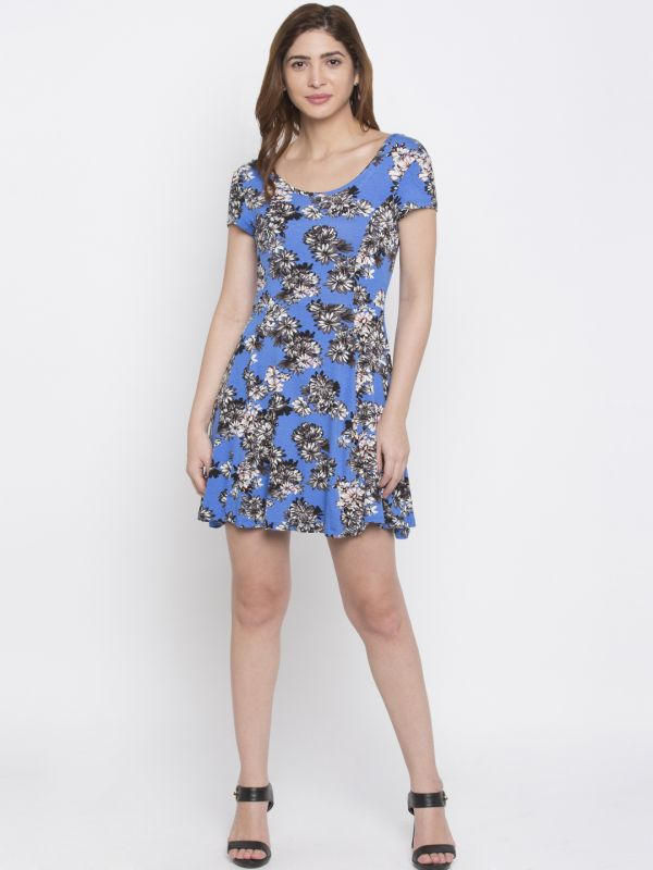 1-honeymoon-dresses-Blue-Printed-Fit-and-Flare-Dress