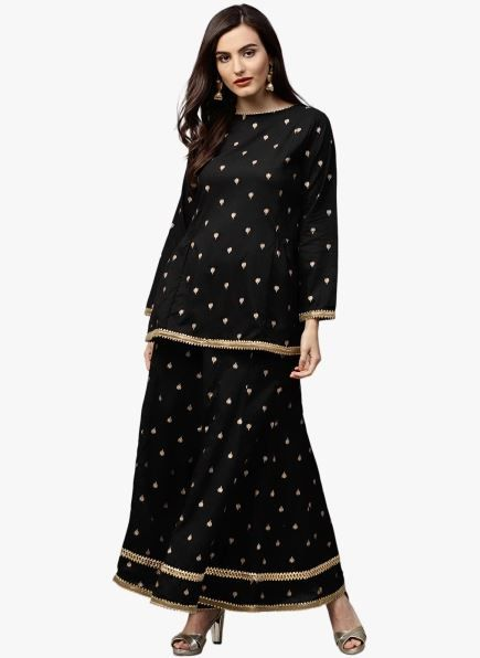 bhama-couture-black-suit-with-sharara-what-to-wear-for-first-lohri-after-wedding