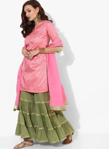 biba-pink-green-suit-with-lehenga-what-to-wear-for-first-lohri-after-wedding