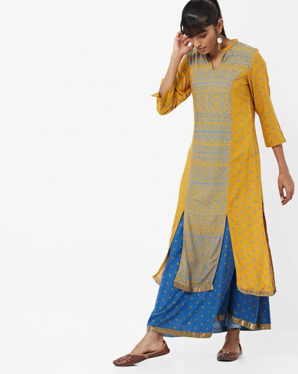 imara-yellow-blue-kurta-skirt-what-to-wear-for-first-lohri-after-wedding
