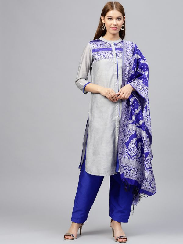 jaipur-kurti-silver-blue-suit-with-salwar-what-to-wear-for-first-lohri-after-wedding