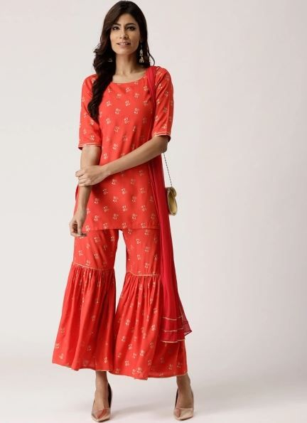 libas-orange-suit-with-sharara-what-to-wear-for-first-lohri-after-wedding