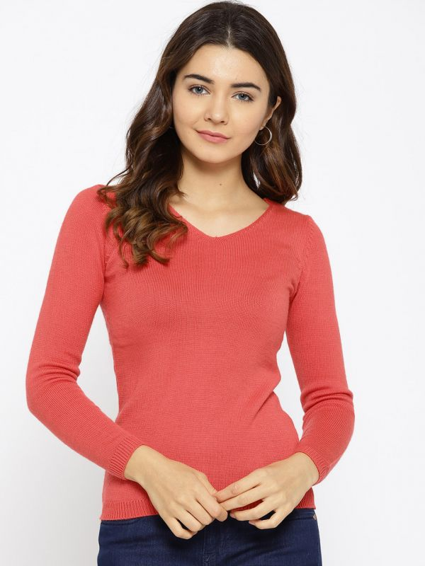 4-pantone-colour-of-the-year-Women-Coral-Red-Solid-Pullover
