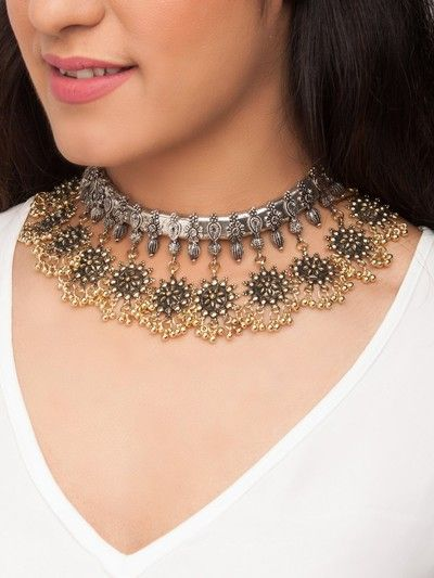 24-jewellery-design-Gold-Toned-Alloy-Oxidised-Necklace