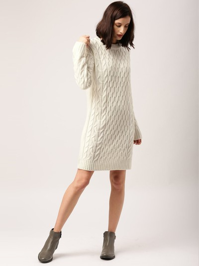 16-honeymoon-dresses-Off-White-Self-Design-Longline-Sweater-Dress for marathi