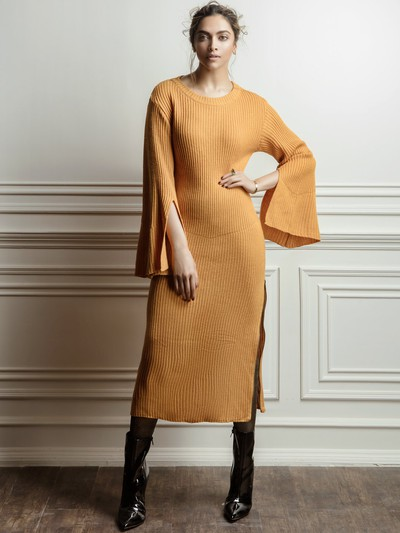 17-honeymoon-dresses-Mustard-Yellow-Solid-Maxi-Sweater-Dress for marathi