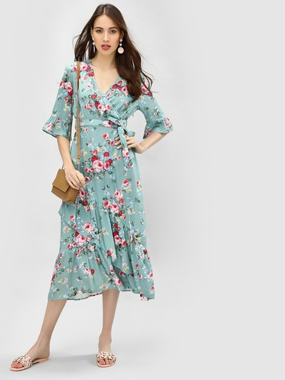 24-honeymoon-dresses-Floral-Wrap-Midi-Dress for marathi
