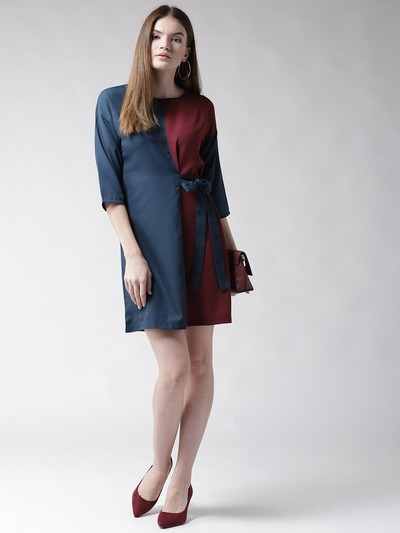 31-honeymoon-dresses-Navy-Blue-Maroon-Colourblocked-A-Line-Dress for marathi