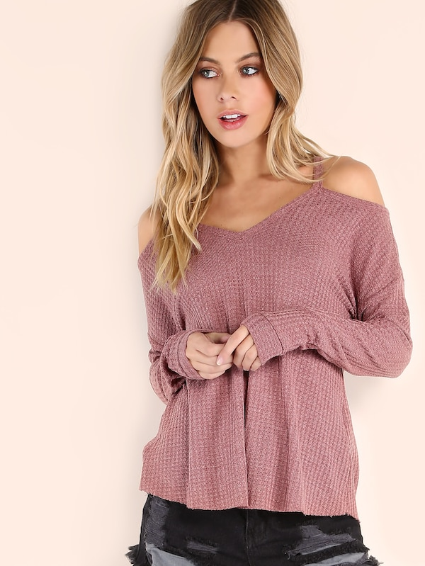 SHEIN Waffle Knit Cold Shoulder T-shirt