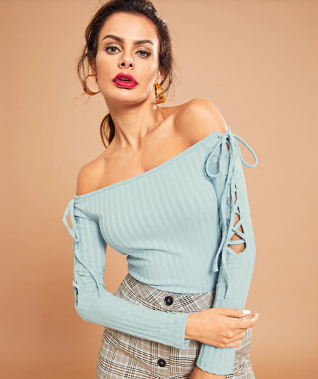 14-off-shoulder-top-designs-Lace-Up-Ribbed-Knit Solid-Tee