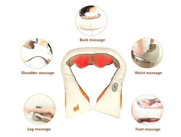 DEZIINE Portable Massager for Neck Shoulder Back Waist Body Wrap Heat Therapy RC for The Relaxation of Muscle Pain and Tightness