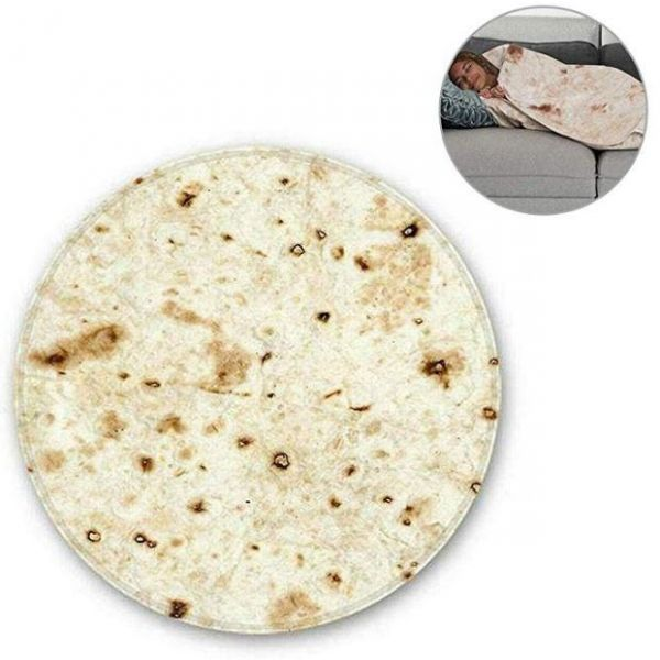 Vuffuw Round Shape Tortilla Burrito Blanket for Sofa Bed AC Room %28Yellow%29