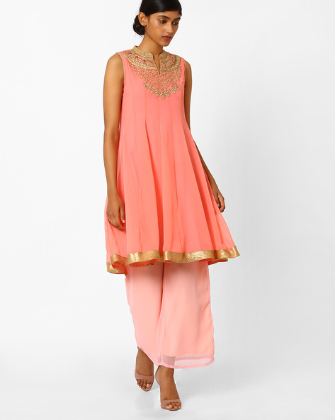 7 dos and donts of wearing ethnic wear peach pink angrakha suit