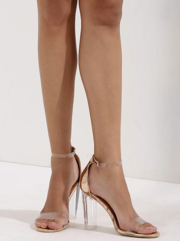 8 types of footwear - NO DOUBT Clear Strap Sandals With Perspex Heel