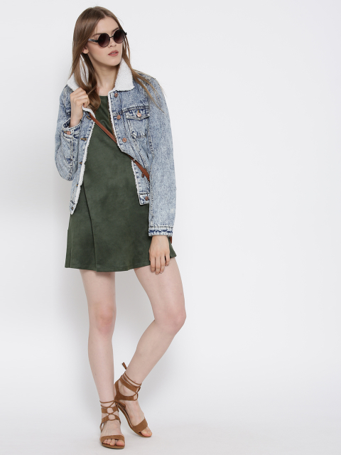 13 dresses that suit girls with dusky skin -FOREVER 21 Women Olive Green Solid A-Line Dress