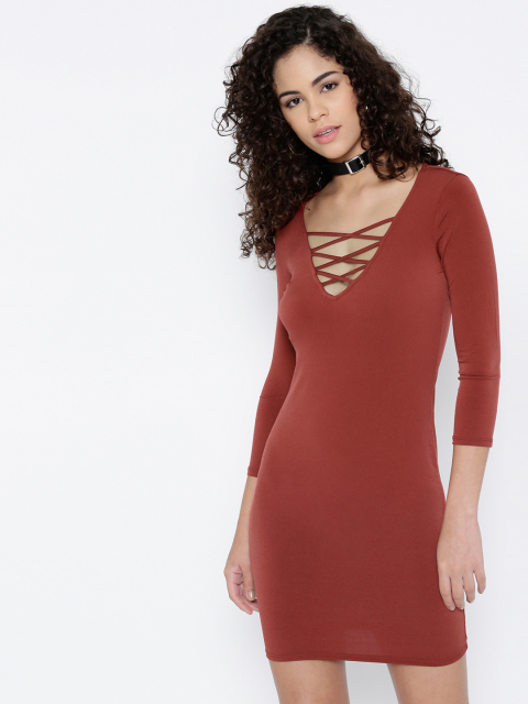 7 dresses that suit girls with dusky skin -FOREVER 21 Women Rust Brown Solid Sheath Dress