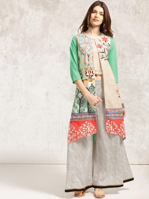 1 stylish capes and shrugs Anouk Cream-Coloured   Green Printed Longline Shrug