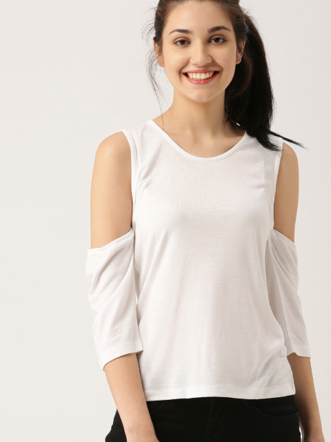 8 party tops DressBerry Women White Solid Top