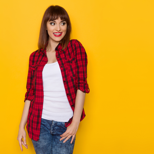 2 unexpected things girls wear that guys love - unbuttoned red lumberjack