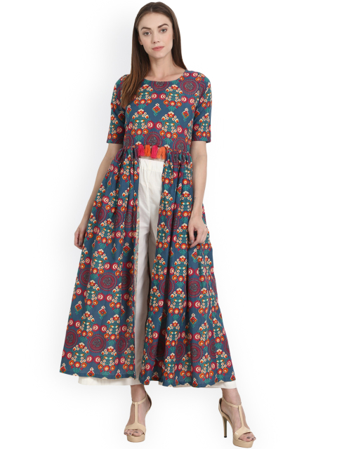 4 new indian wear styles Nayo Women Multicoloured Printed Front Slit A-Line Kurta