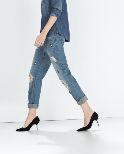Zara Jewelled Boyfriend JEans