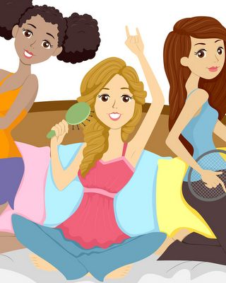 Illustration of Teenage Girl in a Slumber Party Pretending to be