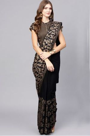aks-black-golden-printed-saree-ethnic-office-wear