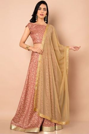 indya-beige-solid-dupatta-ethnic-office wear