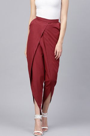 nayo-women-maroon-regular-fit-solid-dhoti-pants-ethnic-office-wear