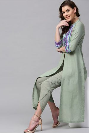 sassafras-women-olive-green-yoke-design-straight-kurta-ethnic-office-wear