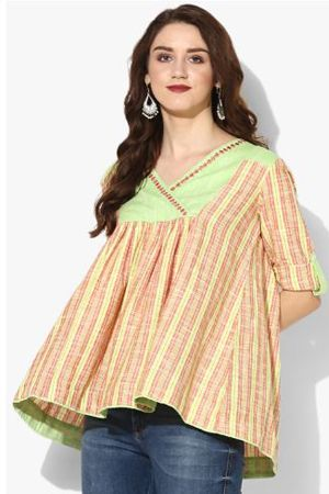 v-neck-34th-sleeves-yarn-dyed-stripes-top-ethnic-office-wear