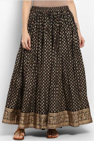 varanga-women-black-cotton-printed-maxi-skirt-ethnic-office-wear