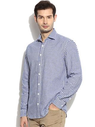 gifts for men - HE-by-Mango-Men-White-Blue-Checked-Slim-Fit-Casual-Shirt_abc8fb6be6e54d6741cb9726a9f80624_images_mini_320x428_320x428
