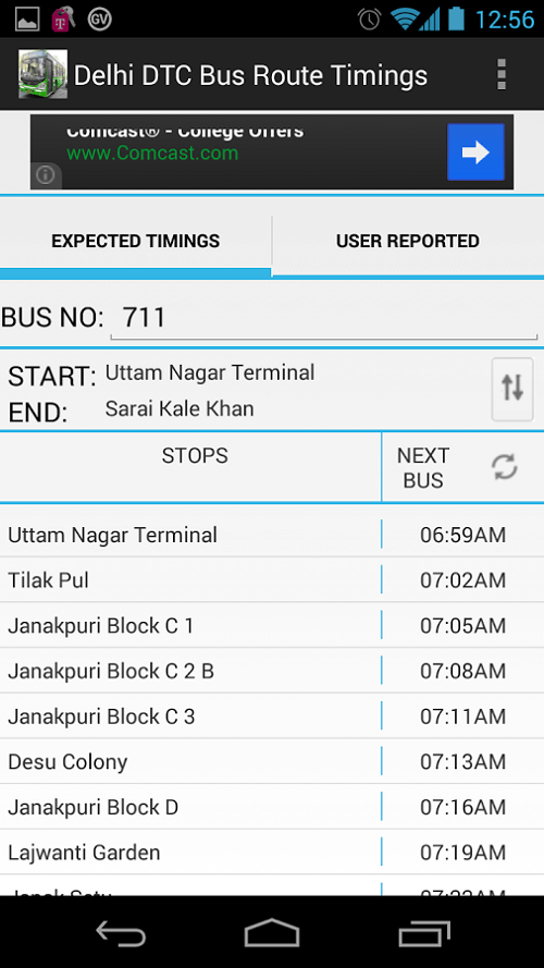 apps for women Delhi DTC Bus Route Timings