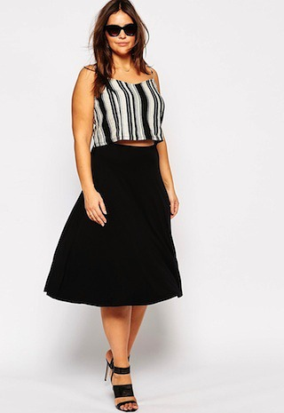 arms look slimmer  skater skirt