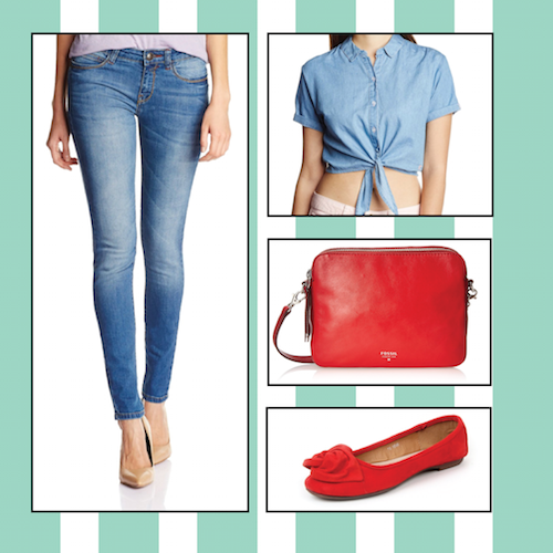 different ways to wear blue jeans. 1