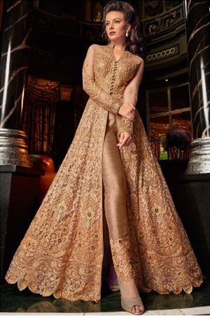 golden-front-slit-net-embroidered-pant-suit-sangeet-dresses-for-curvy-girls